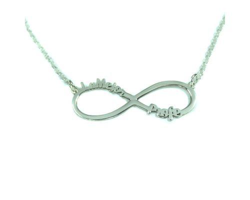 Infinito personalizado con dos nombres en Plata de Ley 925 infinito dos nombres plata personalizado mi collar con nombre