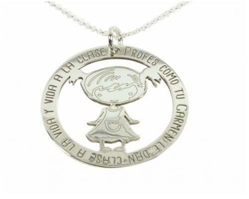 Colgante Frase Niña con el nombre de la Seño 35mm Plata de ley regalo fin de curso regalo profe